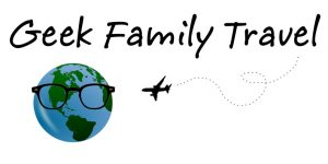 Geek Family Travel logo Earth with glasses, plus airplane.