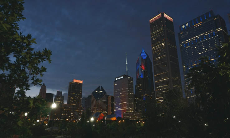 The view of downtown Chicago at night, as seen from Maggie Daley Park.
