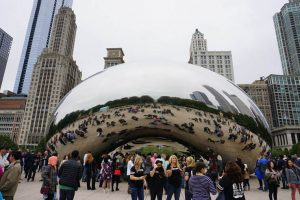 The Cloud Gate sculpture, also known as The Bean, Chicago.