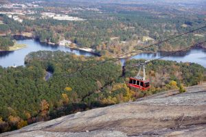View of Summit Skyride from the top of Stone Mountain.