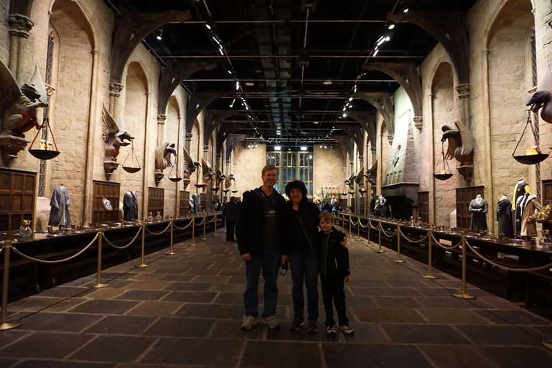 Family in Hogwarts Great Hall, Warner Bros. Studio London: The Making of Harry Potter.