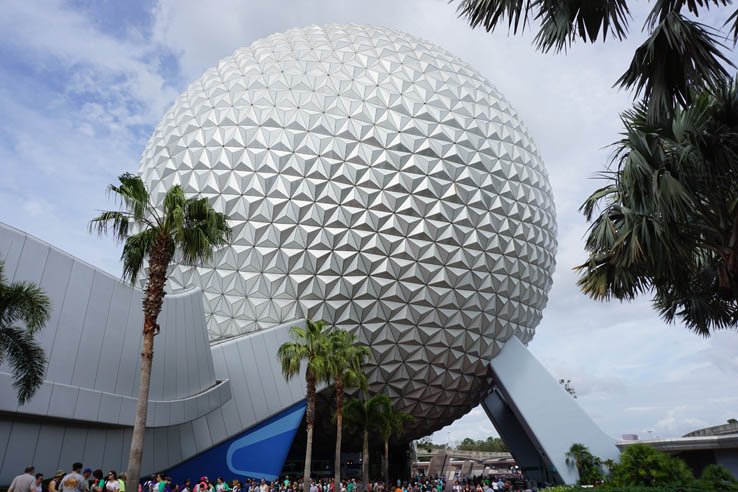 View of Spaceship Earth on a sunny day at EPCOT, Walt Disney World