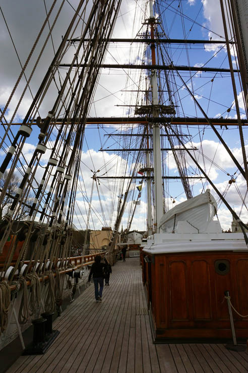 The top deck of the clipper ship Cutty Sark in Greenwich, England.
