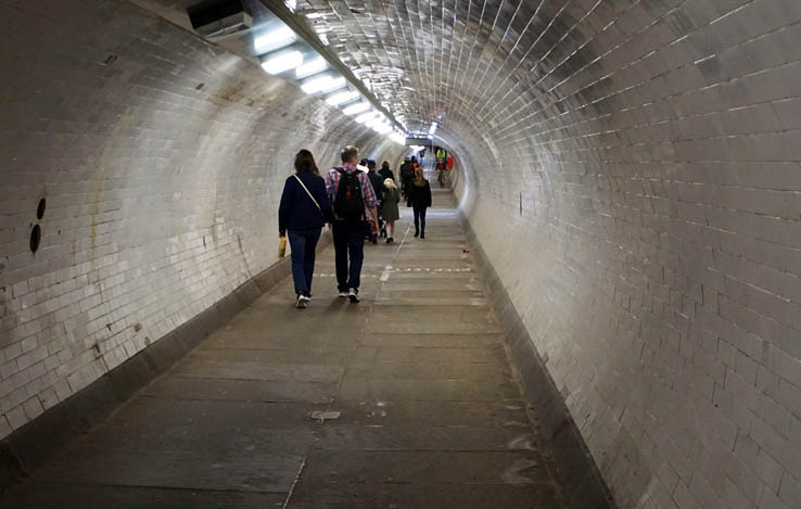 View inside of the Greenwich Foot Tunnel under the River Thames, London