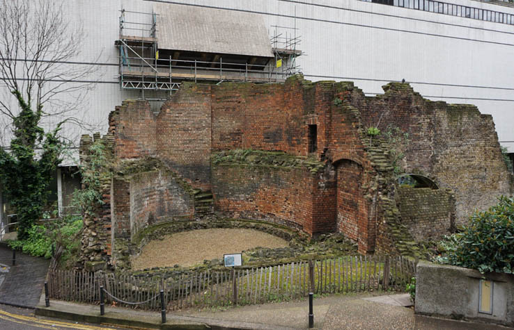 London Wall, old Roman wall, outside the Museum of London