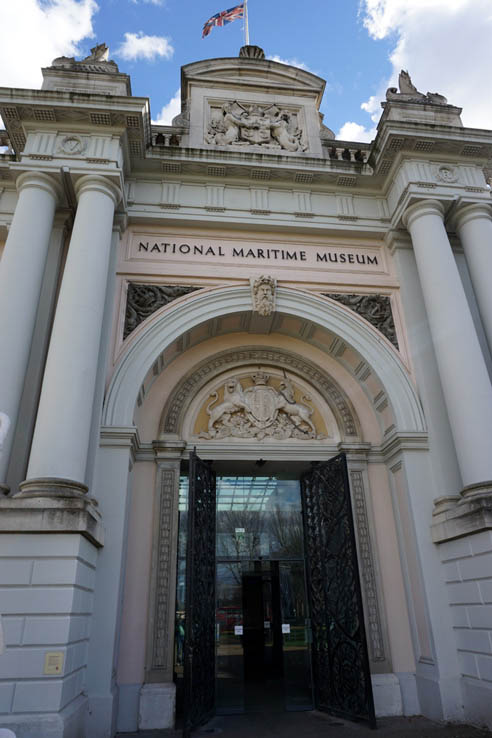 The front entrance of the National Maritime Museum in Greenwich, England, UK.