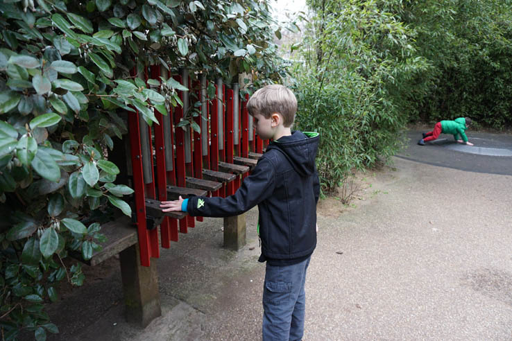 Musical keyboard on sensory trail of Diana, Princess of Wales Memorial Playground, Kensington Gardens, London