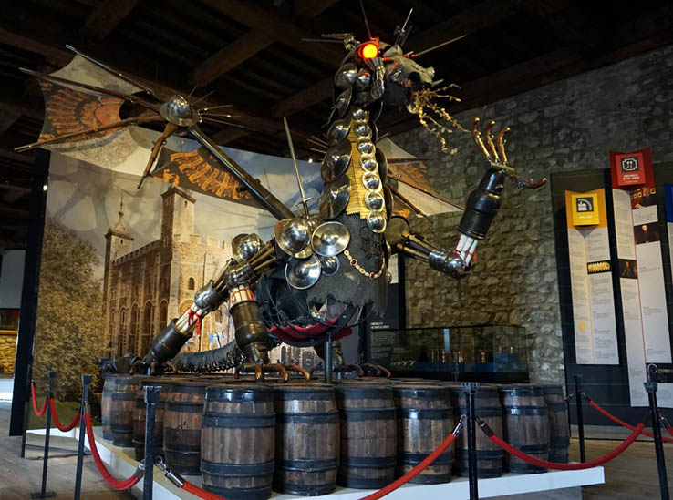 Dragon made from armor at Tower of London