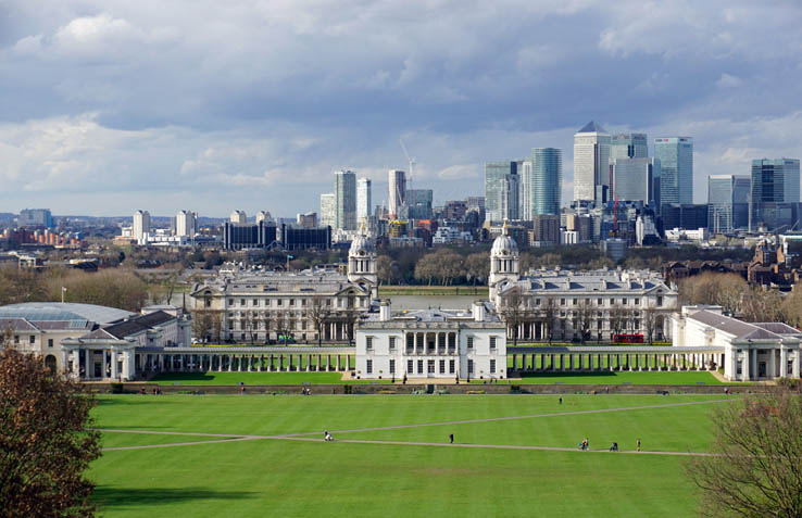 View of London from the hill in Greenwich Park, England