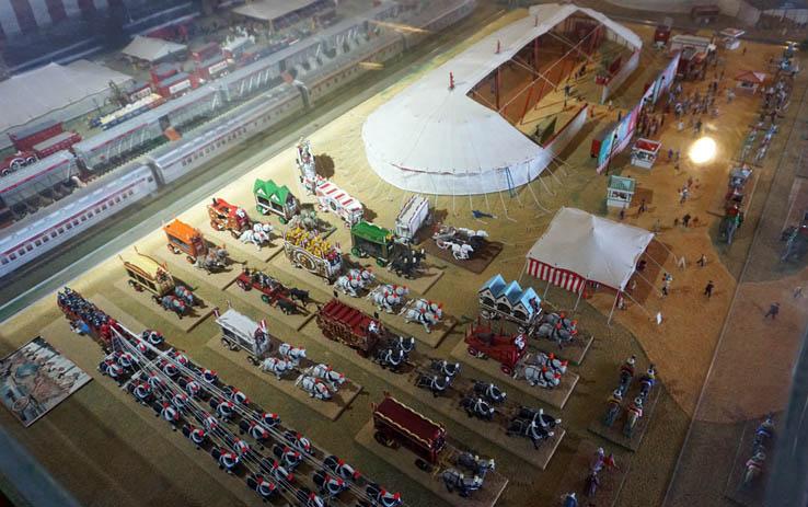 Circus-themed miniature display at the Virginia Museum of Transportation in Roanoke, Virginia