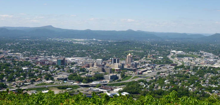 View from Mill Mountain in Roanoke, Virginia.