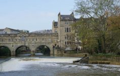 The Pultney Bridge over the River Avon in Bath, England, United Kingdom.