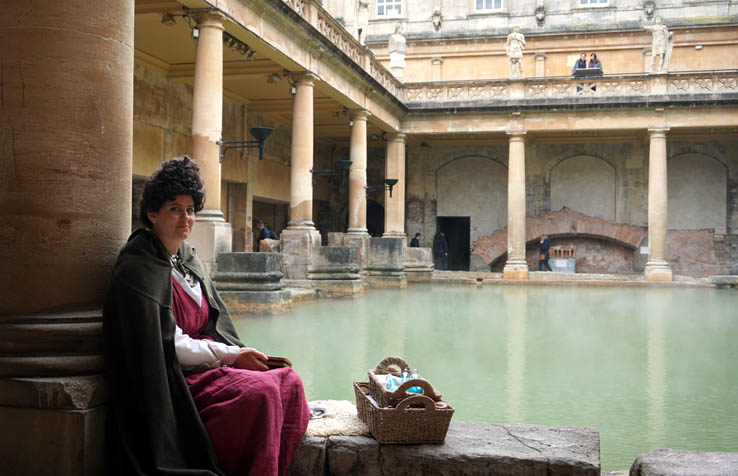 Costumed character at the Roman Baths in Bath, England, United Kingdom.