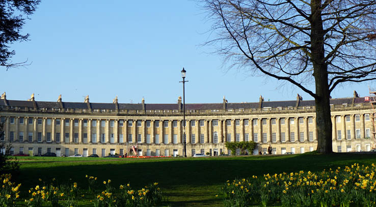 View of the Royal Crescent from the front lawn, Bath, England, United Kingdom.