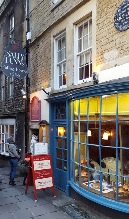 View of Sally Lunn's Eating House restaurant in Bath, England, United Kingdom.