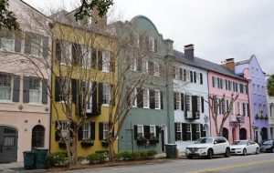The colorful historic houses of Rainbow Row in Charleston, South Carolina.