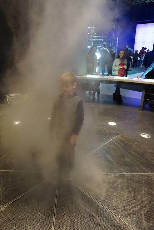 Standing in a tornado in Science Storms, Museum of Science and Industry, Chicago.