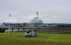 A view of the USS Yorktown aircraft carrier from the parking lot of the Patriots Point Naval and Maritime Museum, Charleston, South Carolina.