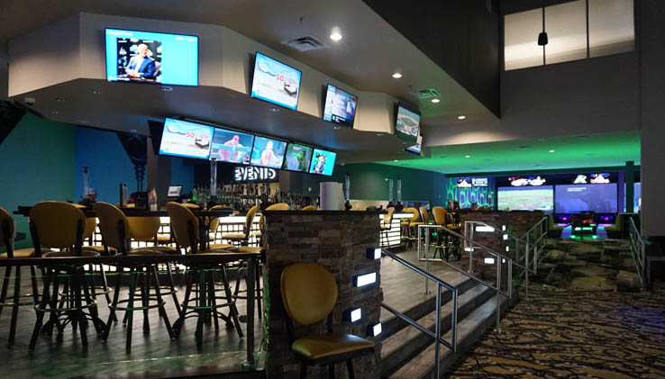 Inside view of bar and bowlling at Andretti Indoor Karting and Games attraction and entertainment center in Orlando, Florida.