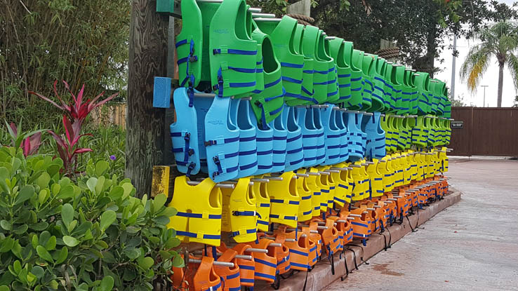 Racks of life vests at Aquatica Orlando