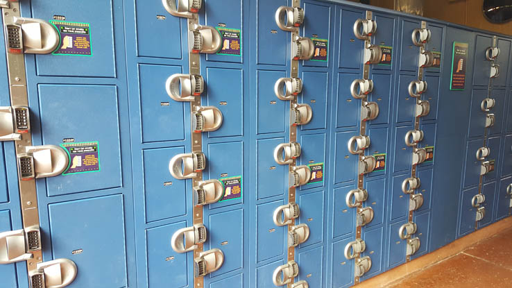 Lockers at Aquatica Orlando water park.