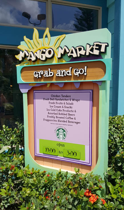 Mango Market quick service restaurant at Aquatica Orlando water park.