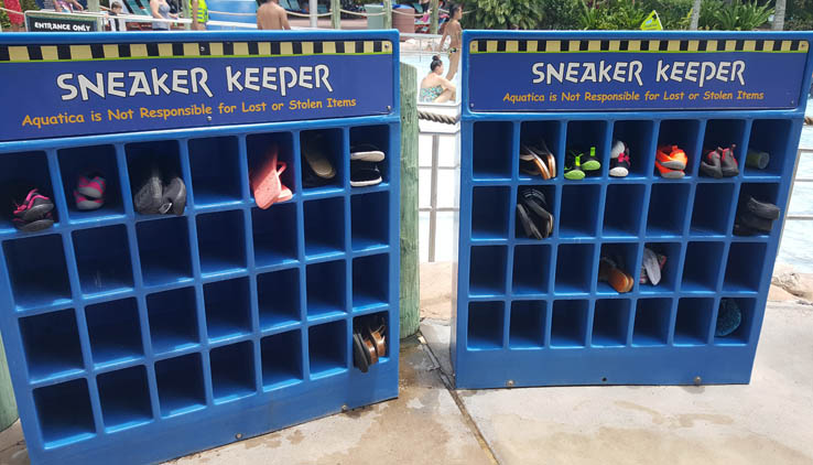 Sneaker Keeper shoe cubby at the entrance to each water slide at Aquatica Orlando.