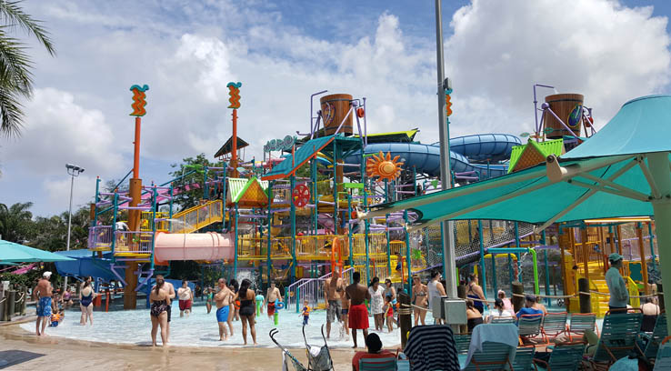 Walkabout Waters, the larger children's play area at Aquatica Orlando water park.