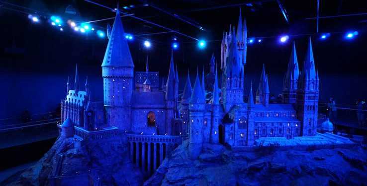 Model of Hogwarts Castle used for filming Harry Potter movies, Harry Potter Studio Tour, just north of London, United Kingdom.