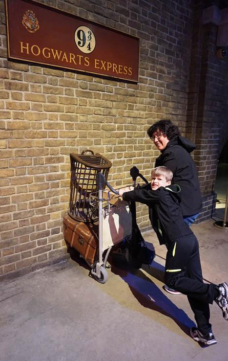 Platform 9-3/4, Hogwarts Express, at the Harry Potter Studio Tour, just north of London, United Kingdom