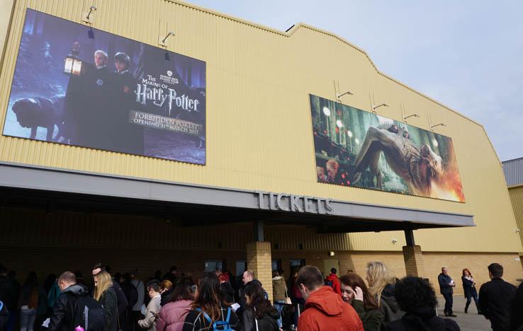 Lines outside at ticket kiosk, Harry Potter Studio Tour, near London, United Kingdom