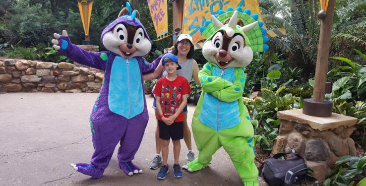 Geek Family Travel with Chip and Dale at Disney's Animal Kingdom theme park.