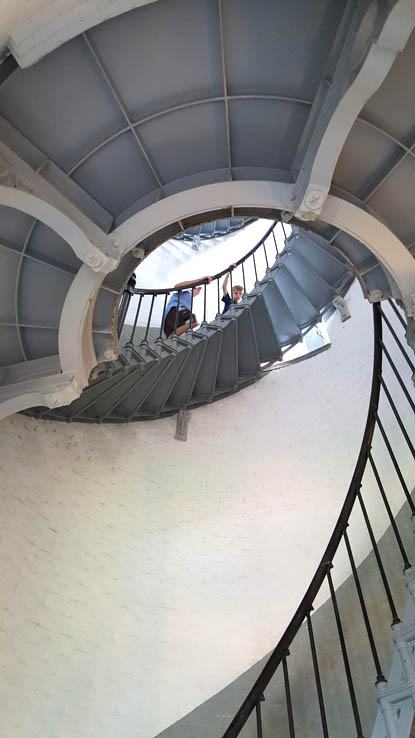Climbing the lighthouse stairs at Ponce Inlet, Florida