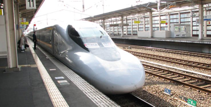 Shinkansen, the bullet train, in Japan.
