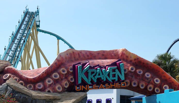 Entrance sign for Kraken Unleashed roller coaster at SeaWorld Orlando